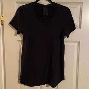Black cotton scoop neck HEATHER T-shirt